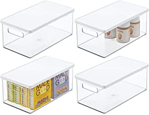 mDesign Plastic Stackable Kitchen Pantry Cabinet, Food Storage Bin Box with Handles, Lid - Organizer for Packets, Jars, Snacks, Pasta - 4 Pack - Clear/White