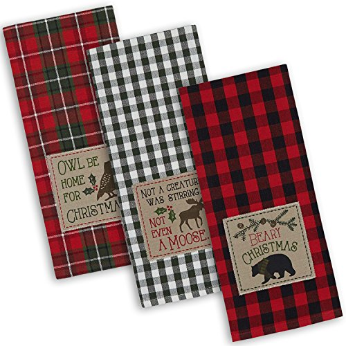 "DII Cotton Christmas Holiday Dish Towels, 18x28"" Set of 3, Decorative Oversized Embroidered Kitchen Towels, Perfect Home and Kitchen Gift-Cabin Christmas"