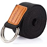 voidbiov D-Ring Buckle Yoga Strap 1.9 or 2.5M, Durable Cotton Adjustable Belt Perfect for Holding Poses, Improving Flexibility and Physical Therapy