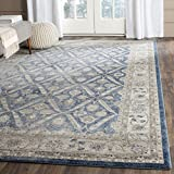 Safavieh Sofia Collection SOF378C Vintage Blue and Beige Distressed Area Rug (6'7″ x 9'2″) For Sale
