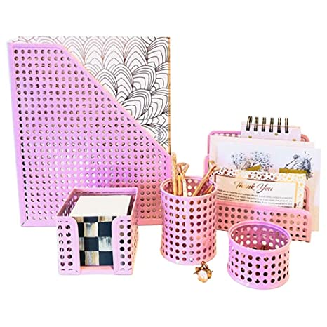 Incredible Amazon Com Pink Desk Organizer Office Desk Set 5 Desktop Beutiful Home Inspiration Xortanetmahrainfo