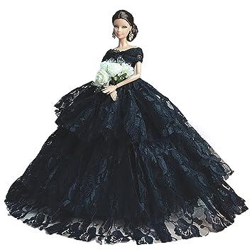 Negro Banquete de boda del vestido de los vestidos y ropa para Barbie muñeca Barbie Por
