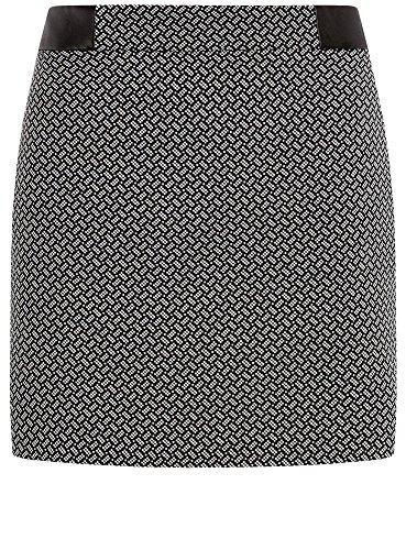 oodji Ultra Mujer Falda Corta de Jacquard Negro (2910G)