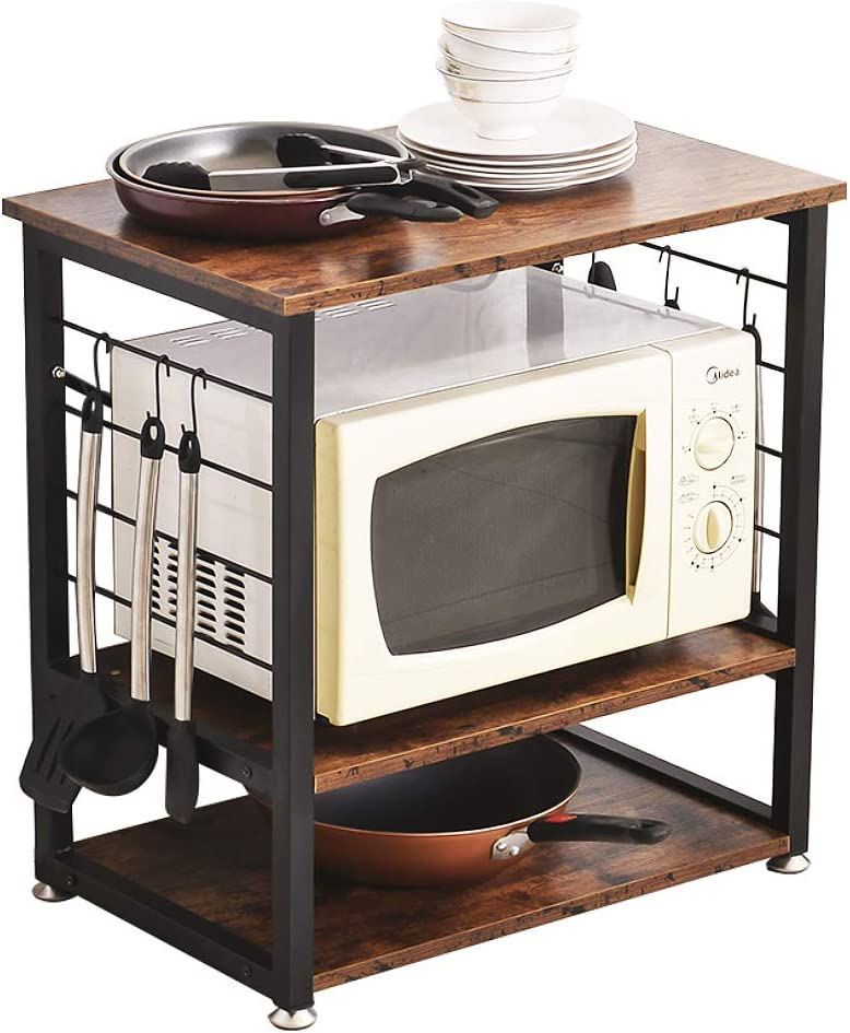 BENOSS Industrial Kitchen Baker s Rack with Storage, 3 Tier Microwave Oven Stand with Metal Frame and 6 Hooks in the Kitchen Living Room, Vintage Brown