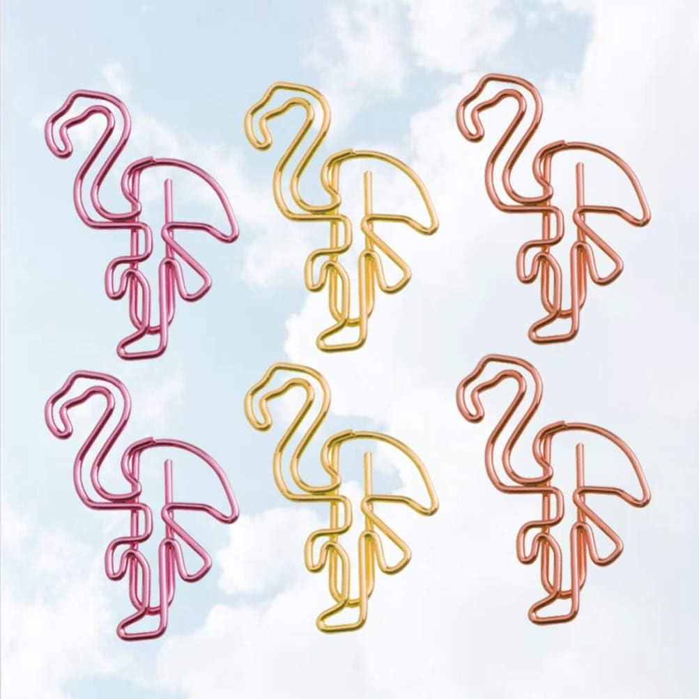 STOBOK 30pcs Trombones Flamant Clips m/étalliques Signet Cadeaux de Papeterie pour Le Bureau color/é Couleur Mixte Maison /école
