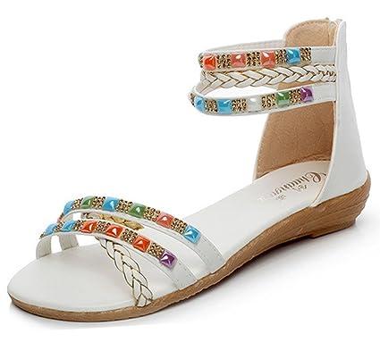 Confortable Femme Rhinestone Chaussures Minetom Bohême Sandales Eté F7zTqwU