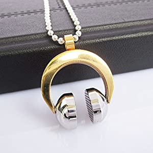 Silver and Gold Head Phone Necklace, Stainless Steel, w/ Chain, Pendant