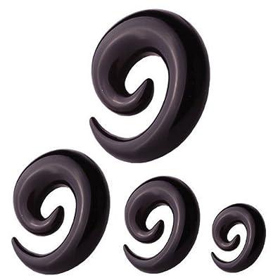 Oído-espiral extensores joyería Piercing colour negro | 2 ...