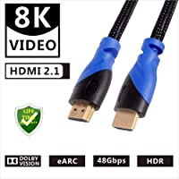 8k Hdmi Cable 48gbps 2.1,8K&60Hz 4K@120Hz 4320P UHD Compatible with  LG TV Samsung QLED TV Apple TV Gaming Consoles Blu-Ray Players Projectors Any Other Hdmi-Enable Device 8k Cable hdmi 6 Feet