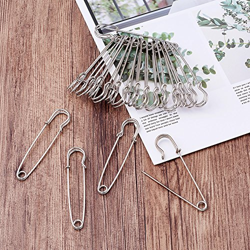 """Kissitty 100-Piece Heavy Duty 2.76"""" Large Iron Safety Pins Metal Spring Lock Pin Fasteners for Blankets Skirts Kilts Brooch Crafts Making"""
