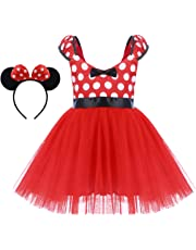 Minnie Costume Little Girl Birthday Tutu Dress with Ear Headband Polka Dots Christmas Holiday Dress Up Princess Outfits Short Dress Red 6-7 Years