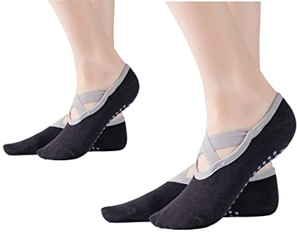 SANIQUEEN.G 2 Pares Mujer Calcetines de Yoga Pilates Calcetines Fitness/Danza / Ballet Calcetín Tamaño UK 2,5-7 / EU 35-40