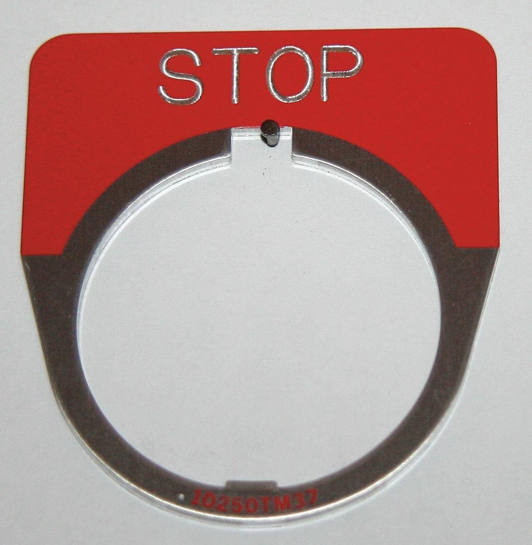 Eaton 10250TM34 Legend Plate For Round Legend Plate,STOP Inscription STOP Inscription