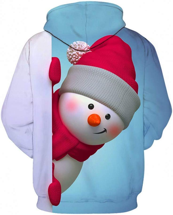 Mens//Womens 3D Hoodie Print Cute Little Snowman Hoodie Autumn and Winter Casual Clothing
