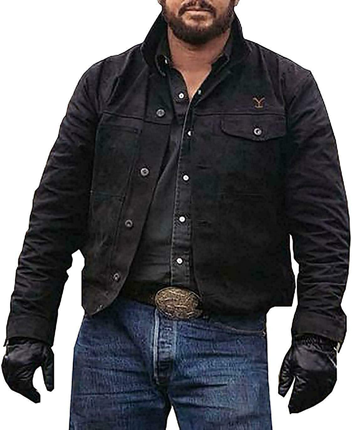 Excellence Men's Cowboy Cole Hauser Stylish Suede Jacket Leather High quality new Black With