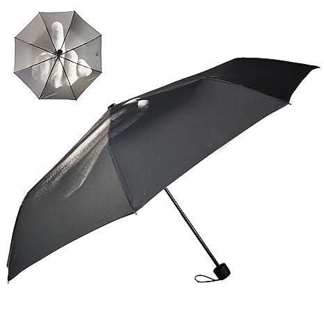 Wrighteu Paraguas Creativo con Dedo Medio Plegable de Sombrilla de Sol y Lluvia al Aire para