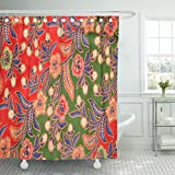 TOMPOP Shower Curtain Red Batik Abstract Bright in Batik's Technique Colorful Indonesia Malaysia Waterproof Polyester Fabric 72 x 78 Inches Set with Hooks