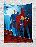 asddcdfdd Superhero Tapestry, Heroic Couple on Mission Saving the World Justice Defenders of Good Print, Wall Hanging for Bedroom Living Room Dorm, 60 W X 80 L Inches, Violet Blue Ruby