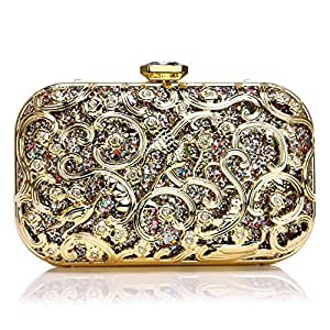 Evening Bag Sequins Sequins Shoulder Bag Messenger Bag Women's Banquet Celebration Wedding Party Bride Clutch Bag Lady Chain Handbag Size: 19 * 4 * 12cm Fashion (Color : Gold)