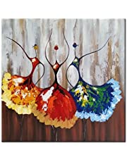 Wieco Art Ballet Dancers Abstract People Oil Paintings on Canvas Wall Art for Living Room Bedroom Home Decorations Modern Decorative Colorful 100% Hand Painted Stretched Contemporary Artwork 24x24