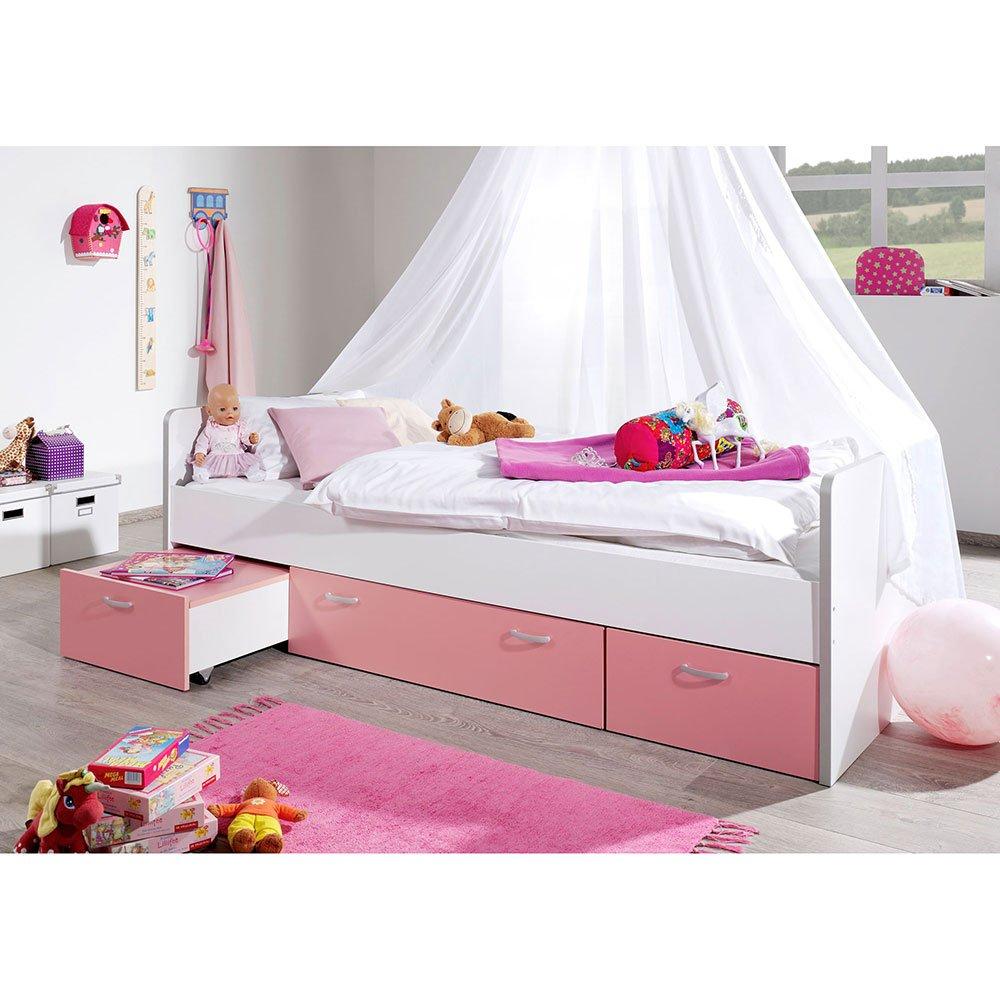 Pharao24 Mädchenbett in Weiß Pink Schubladen