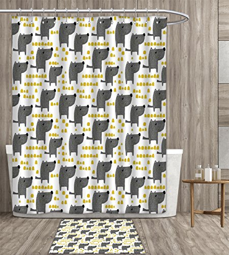 How To Create A Greyscale Bathroom: Homefeel Dog Shower Curtain Mildew Resistant Sketch Style