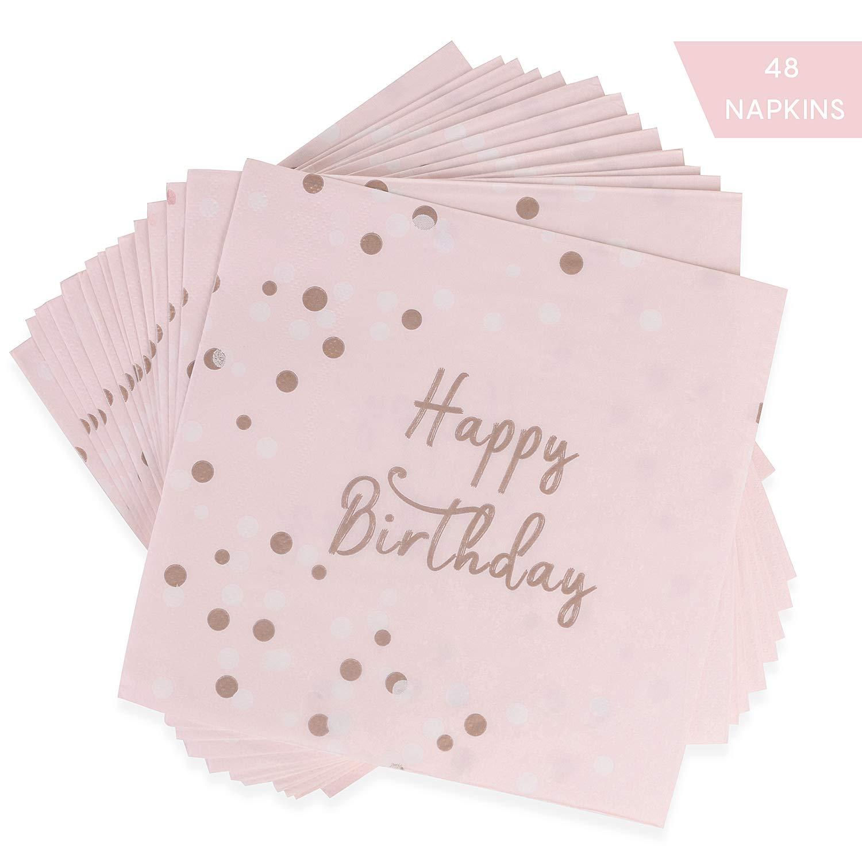 Happy Birthday Servietten Servietten Geburtstag Rosa Gold f/ür M/ädchen Geburtstag Dinner Party Favors Supplies 33x33cm EKKONG 48 St/ück Servietten Geburtstag Rosegold
