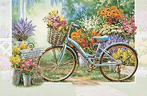 Birthday Greeting Card The Flower Mart Old Bicycle Single (1) Card w/Env Pumpernickel Press ()