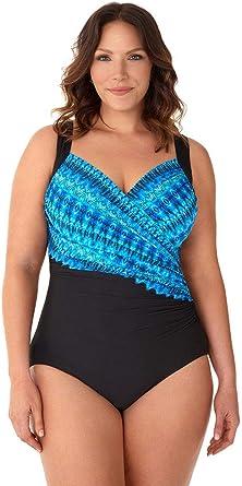 Miraclesuit Womens Swimwear Plus Size Cabana Chic Sanibel Sweetheart Neckline Underwire Bra Tummy Control One Piece Swimsuit