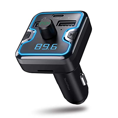 Bluetooth FM Transmitter for Car, TechRise Wireless FM Transmitter Radio Receiver Adapter Car Kit, with Dual USB & Type-C Charging Port, Hands Free Calling, U Disk, TF Card MP3 Music Player: Car Electronics