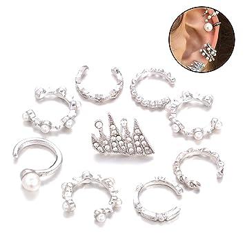 768789fda98d Zoylink 9PCS Conjunto De Aretes Para NiñAs Ear Cuffs Elegante Formas Del  CíRculo De Corona Aros Del OíDo Clips De Oreja Pendientes De JoyeríA Para  Mujeres  ...