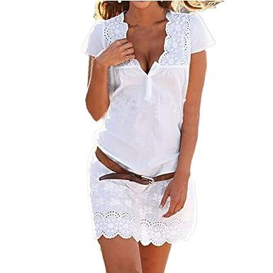 ee30714d21d16 SUNNOW Femme Elégante Tunique Mini Robe de Plage Casual Dentelle Floral  Coton T-Shirt Party