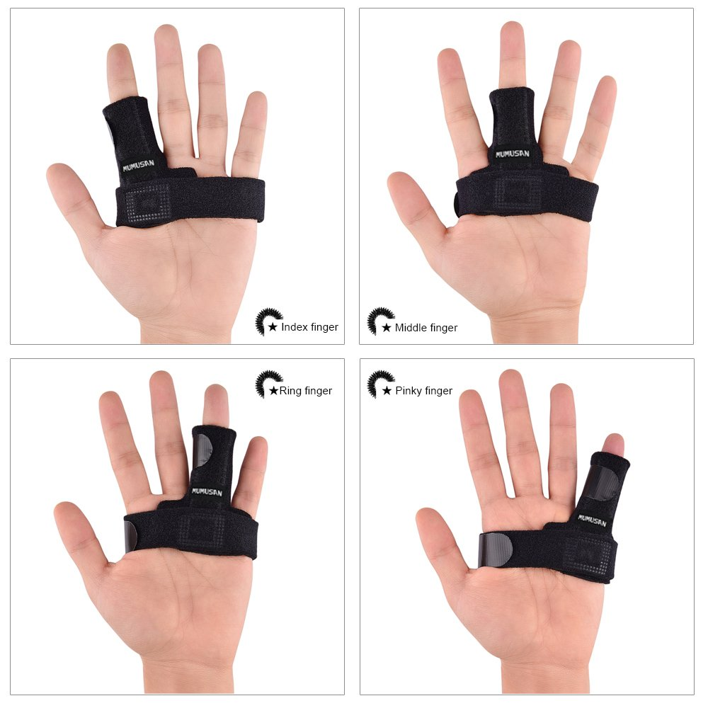 MUMUSAN Finger Extension Splint for Trigger Finger, Acupressure Massage Rings, Pain Relief from Stenosing Tenosynovitis, Finger splints braces For arthritis, Wounds, Malleable Metallic hand splint fin by MUMUSAN (Image #3)