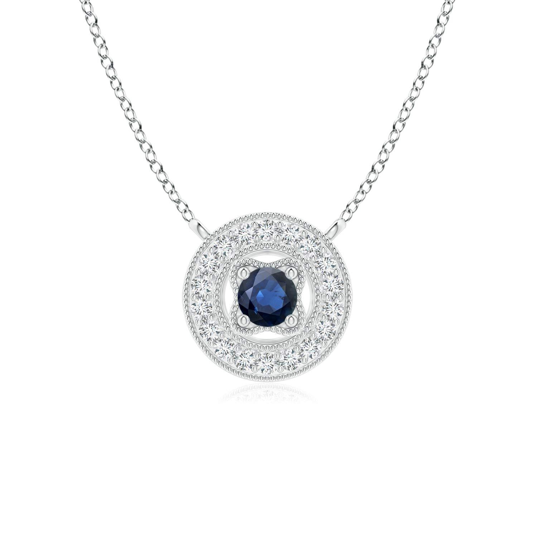 Vintage Style Sapphire Halo Pendant with Milgrain Detailing 2.5mm Blue Sapphire