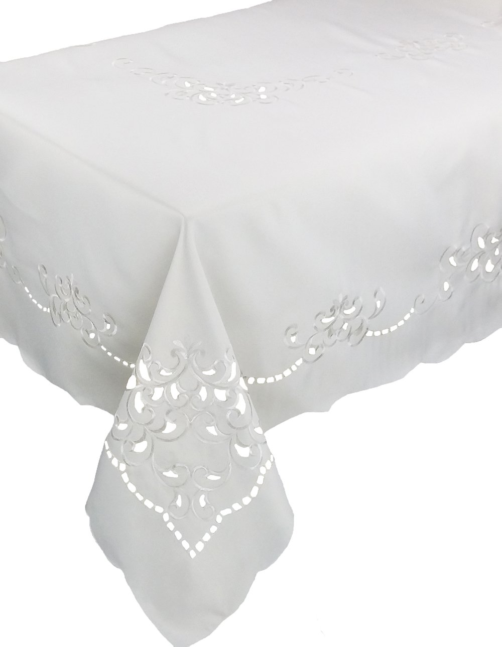 Xia Home Fashions Hampton Embroidered Cutwork Tablecloth, 70 by 144-Inch, Ivory by Xia Home Fashions