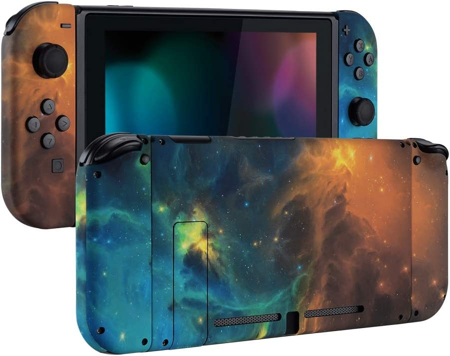 eXtremeRate Soft Touch Grip Back Plate for Nintendo Switch Console, NS Joycon Handheld Controller Housing with Full Set Buttons, DIY Replacement Shell for Nintendo Switch - Gold Star Universe: Video Games
