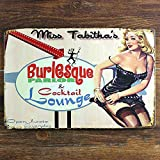 Gallery Canvas Art- Miss Tabithas Burlesque Parlor and Cocktail Lounge Distressed Retro Vintage Tin Sign, 812 Inches by Tin Signs