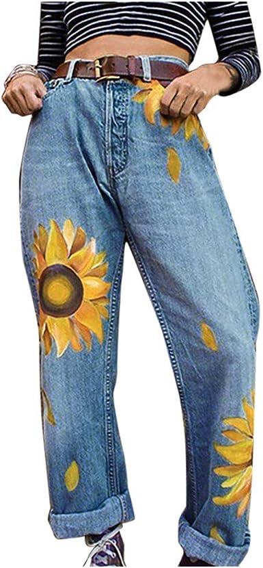 Pantalón Mujer Cintura Media Estampado de Girasoles Vaqueros ...