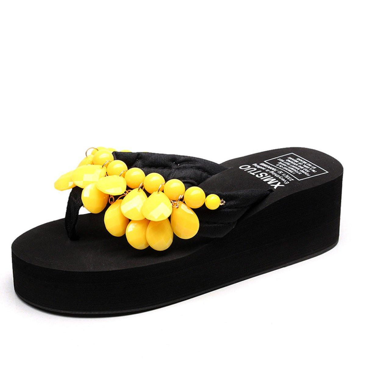 GSHGA Mode Handarbeit Perlen Hausschuhe Strand Damenschuhe Sandalen T-Strap Bohemia Römersandalen  38|Yellow