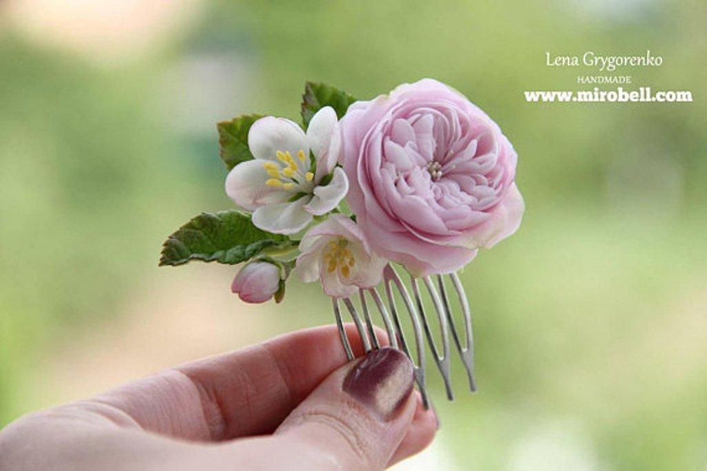 rose hair comb, cold porcelain, rustc wedding hair piece, apple blossom, rose hair, blossom comb, blossom hair, clay flowers, bride hair comb