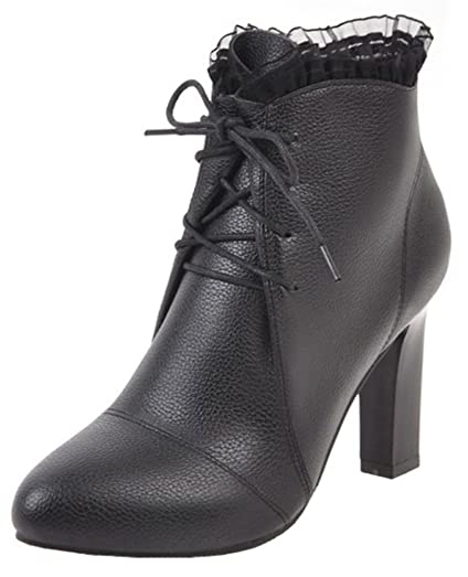 Women's Sexy lace Splicing Pointed Toe High Chunky Heel Lace up Ankle Boots with Side Zipper