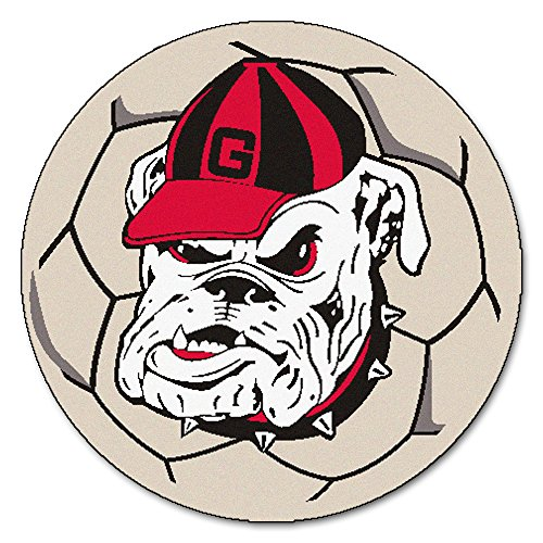 Fanmats NCAA University of Georgia Bulldogs Nylon Face Soccer Ball Rug -