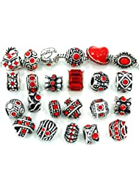 Pro Jewelry Ten (10) Assorted Shades RED Crystal Rhinestone Beads (Styles You Will Receive are Shown in Picture Random 10 Beads Mix) Charms Spacers Bracelets