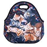 ICOLOR Many Cats Soft Insulated Lunch box Food Bag Neoprene Gourmet Handbag lunchbox Cooler warm Pouch Tote bag For School work LB-060