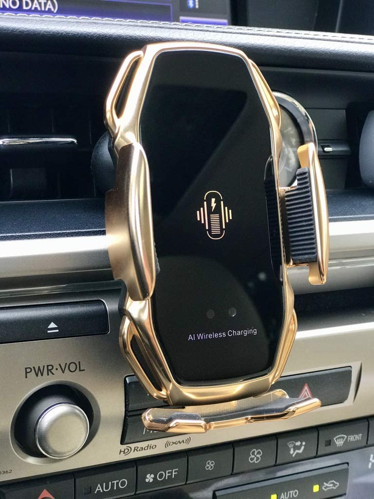 BHUPAL 2 in 1 Luxury 2020 Car Phone Mount with Sensing Automatic Retractable CLAMP and Qi Wireless Charging Compatible iPhone 11//11 Pro//11 Pro Max//Xs MAX//XS//XR//X//8//8+,Samsung S10//S10+//S9//S9+//S8//S8+
