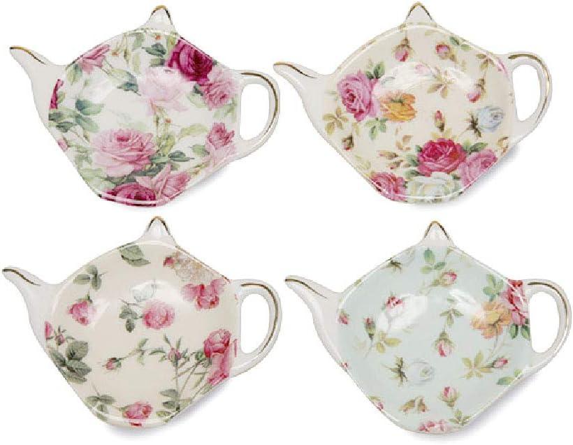 Gracie China Tea Bag Caddy Holder, Set of 4 (Rose Chintz)
