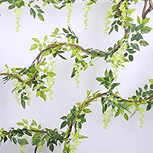 E-dance 6.6 Ft Artificial Flower Silk Wisteria Flower Ivy Vine Green Leaf Hanging Vine Garland for Wedding Party Home Garden Wall Decoration Green 1