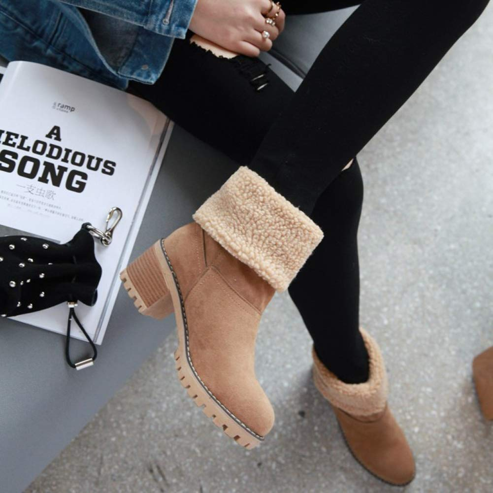 Themost Womens Ankle Boots Winter Suede Warm Boot Short Chunky Square High Heel Booties Round Toe Shoes