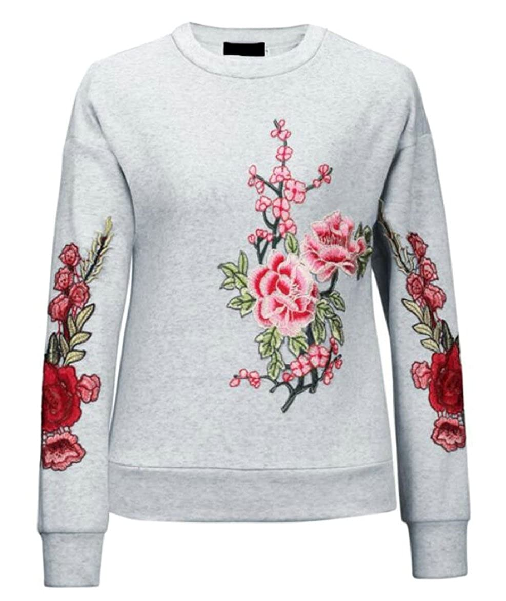 ONTBYB Womens Casual Flower Embroidery Boho Pullovers Sweatshirt