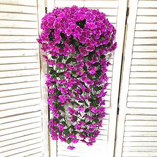 situmi人工フェイク花シミュレーション植物Orchid装飾用壁マウントフラワーバスケットインドアリビングルームプラスチックVinesシルク花、パープル B07355VM46